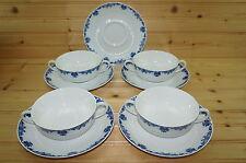 """Ceralene Saint Cloud Limoges (4) Cream Soup Bowls, 4 3/4"""" & (5) Saucers, 7 1/4"""""""