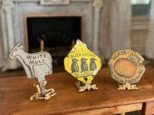 Antique Miniature Dollhouse Artisan 1920's Tobacco Tin Shop Signs Animals Fruit