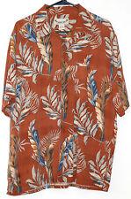 Paradise Coves Hawaiian Floral Silk Button Up Shirt Large Orange Tropical Tiki