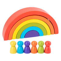 Wooden Rainbow Stacker Nesting Puzzle Blocks Building Educational Toy Kids Gift