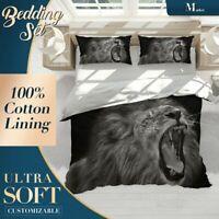 Lion Growling Wild Animal Black n White Quilt Cover Duvet Cover w 2 Pillowcases