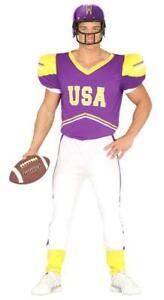 Mens American Football Quarterback Fancy Dress Costume Sport Adults Outfit