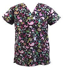Womens Fashion Medical Nursing Scrub Tops Black Base Colorful Flower Ribbon S