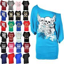 Womens Batwing Sleeve Ladies Off Shoulder Bardot Skull Print Long Tee Shirt Top