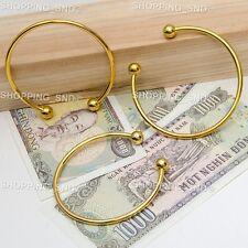 RUBYCA 10pcs Gold Cuff Open Bangle Bracelet Screw end Ball European Charm Beads