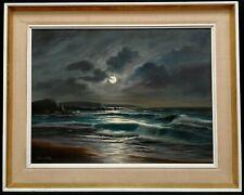More details for arnold beardsley (b.1915) large moonlit seascape antique beach oil painting