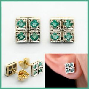 14k 14ct 585 Real Yellow GOLD and Natural Genuine EMERALD Stud Italian Earrings