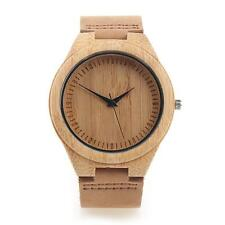 Unisex  Bamboo Wooden Watch Quality Leather Strap Quartz Watches Stylish Round