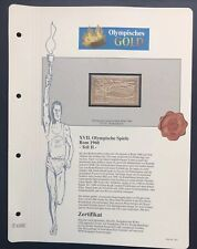 Olympics Roma 1960 Italia Italy Gold stamp 99,8% Goldauflage Only 4.999 MNH 5/10