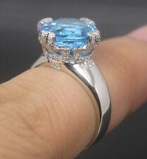 Solid 14K White Gold Natural Blue Topaz VS Diamond Engagement Wedding Ring