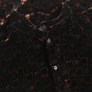 STUNNING Armani Collezioni Black Rust Silk Blend Velvet Mandarin Cubes Shirt L