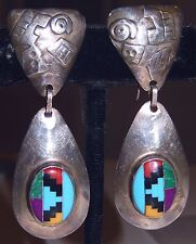 Navajo Turquoise Inlay Earrings Willie Shaw WS Sterling Silver 15g