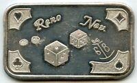 Reno Nevada Dice 999 Silver Art Medal 1 oz Bar MotherLode Mint ounce - BD895