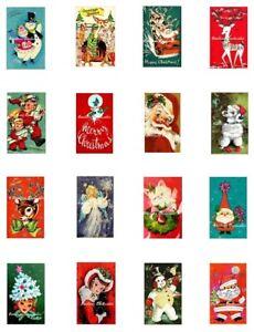"""Retro Christmas Minis Repro Cotton Quilt Blocks (16) Images @ 1.25X2"""" Each"""