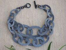 Buffalo Horn Necklace Natural Material Jewelry Chunky Grey Double Chain
