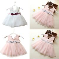 Infant Baby Flower Girls Dress Lace Birthday Party Tutu Dress Pageant Bridesmaid