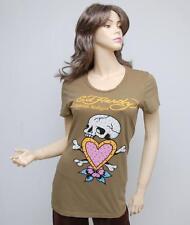 Nwt Ed Hardy Skull in Love Crystal Embellished T-Shirt Tee Top Tunic Green XS