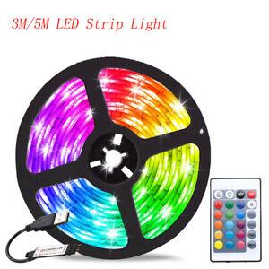 Led Strip Lights 5050 RGB Colour Changing Tape Cabinet USB TV Kitchen Lighting