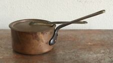Vintage Mauviel Tin-lined Copper Butter Warmer with Lid Brass Handles France