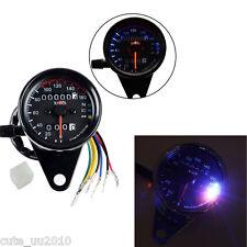 Motorcycle Odometer KMH Speedometer Gauge Black LED Backlight Signal Universal