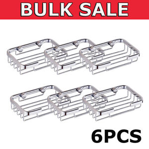 6xWall Mounted Soap Dish Holder Bathroom Bath Shower Stainless Steel Basket Tray