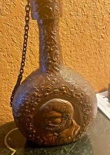 New listing Vintage Leather Wrapped Bottle Decanter Embossed Detail. Empty