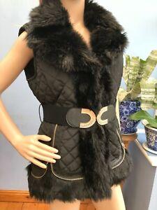 Stella Black Quilted Faux Fur Waistcoat Gilet Bodywarmer with Belt Size 14