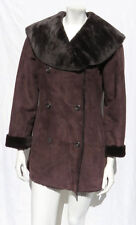 CALVIN KLEIN Women's Brown Faux Suede Shearling Plush Fur Jacket Coat size S