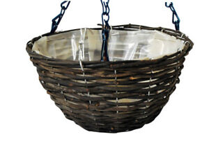 14inch Dark Rattan Heavy Duty Wall Hanging Basket Liner Flower Plant Pot Planter