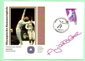 Korean FDC Seoul Olympic Fencing Auto Signed by Gold Medalist Anja Fichtel FOIL