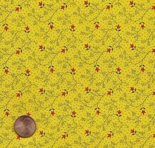 Antique 1890 Yellow Calico Fabric