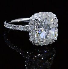 Platinum 4.70 Ct. Cushion Cut Diamond Engagement Ring w/ Round Pave EGL H,VS1