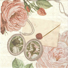 2 Serviettes en papier Médaillon Romantique Decoupage Paper Napkins Photo Roses