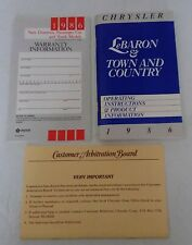 New listing Original 1986 Chrysler LeBaron Town and Country Owners Manual + Warranty Booklet