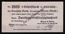 Altena  -  Basse & Selve  -  250 Tausend Mark