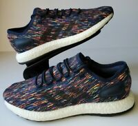 ADIDAS PUREBOOST Mens Casual Boost Running Shoes, Navy Blue / Multi, Size 10.5