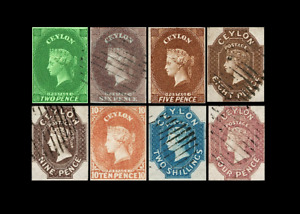CEYLON EARLY IMPERFS GROUP OF EIGHT Facsimile-Reproduction