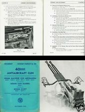 WW2 1940's ANTI AIRCRAFT AA GUN ARCHIVE MANUALS BOFORS 40mm RARE PERIOD BLITZ