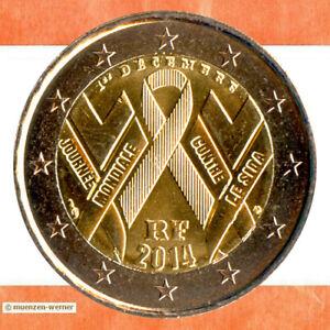 Sondermünzen Frankreich: 2 Euro Münze 2014 Welt-Aids-Tag Sondermünze Gedenkmünze
