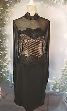 Lipsy  Women's  Black Mesh Top High  Neck Lace  Incert Bodycone  Dress Size 16