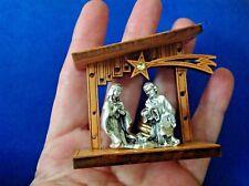 HOLY FAMILY NATIVITY BOXED Jesus Virgin Mary Joseph ITALY Olive Wood Metal