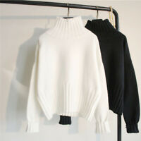 Simple Women's Casual Long Puffy Sleeve Loose Pullover Knit Sweater Jumper Top