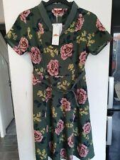 JOE BROWNS Floral Print Belted Dress-Green Size UK10