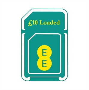 £10 Credit/Loaded EE 3 in 1(Standard+Micro+Nano) Pay As You Go SIM Card.
