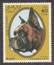 WOW Dog Art Head Study Portrait Postage Stamp Show BOXER Spanish Sahara 1992 MNH