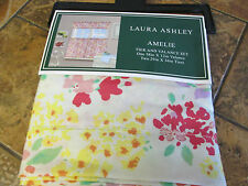 Laura Ashley-Amelie-Tier & valance set--Multi/Ivory Floral--Polyester-New w/tags