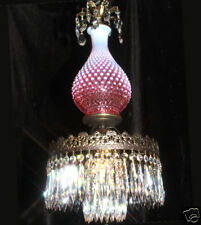 1o3 Fenton hanging Cranberry brass plt art Glass Crystal Lamp Chandelier Vintage