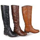 Journee Collection Womens Wide Calf Buckle Detail Boots