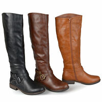 Journee Collection Womens Wide Calf Buckle Detail Boots New