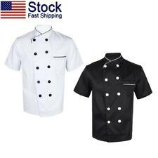 Us Unisex Chef Coat Double-Breasted Short Sleeve Work Uniform Kitchen Restaurant